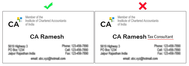 Ca Visiting Cards Must Not Show