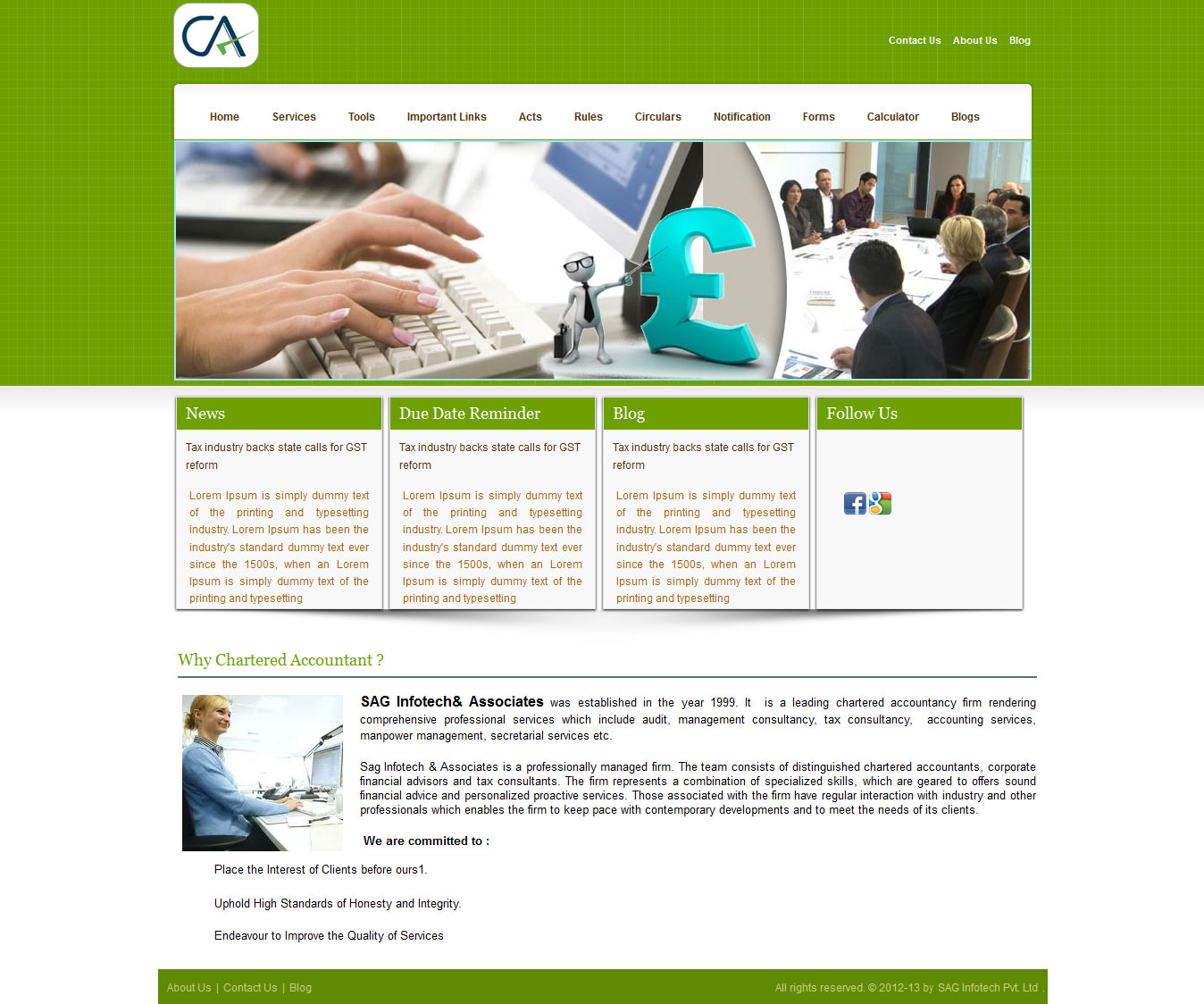 CA Portal: Easy to Create CA, CS and Lawyers Website | SAG Infotech