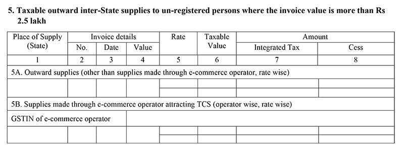GSTR 1 Form Table 5