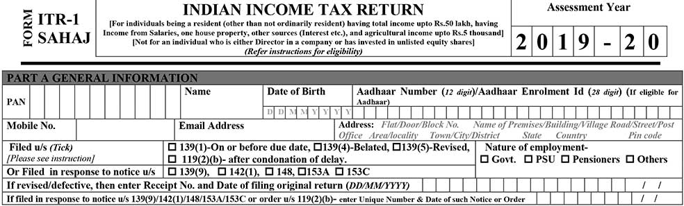 ITR 1 Form Filing Part A