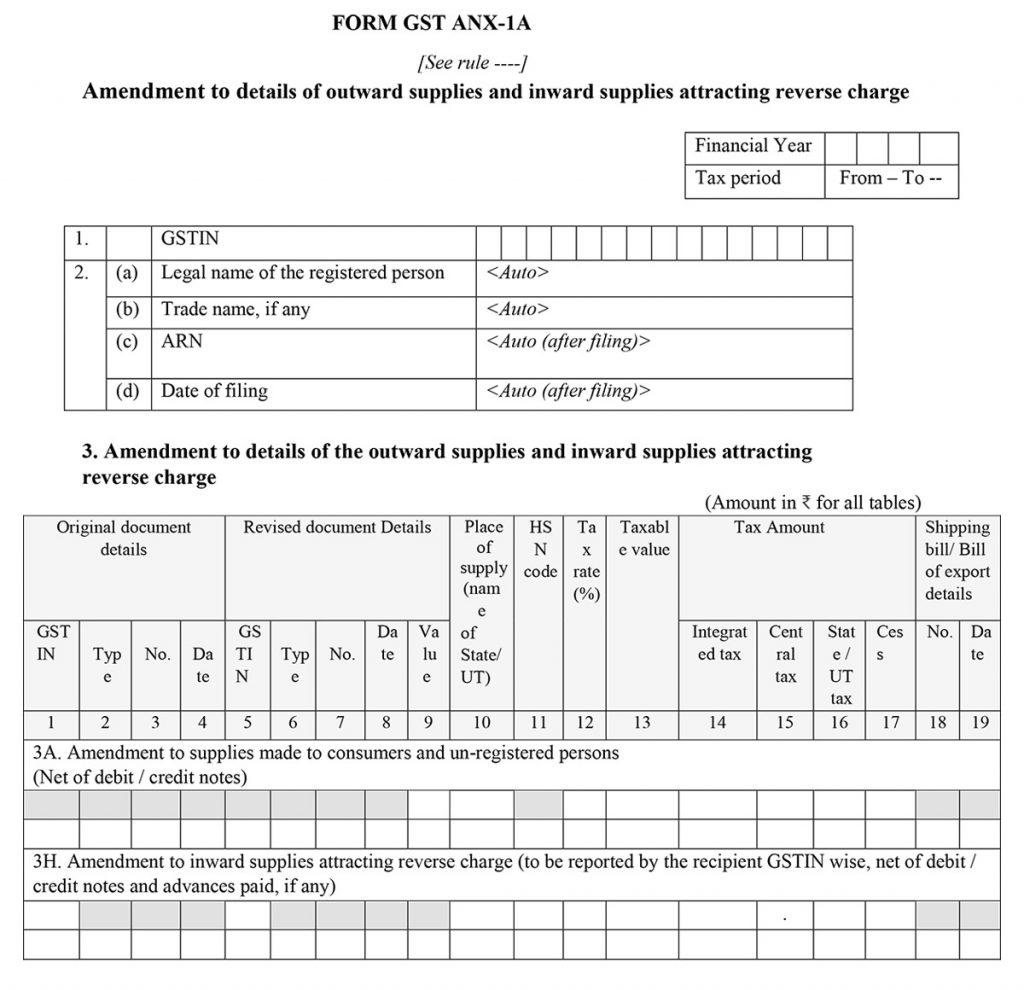 GST Return Sahaj ANX 1A Format