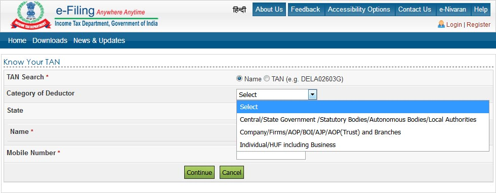 Select Category of Deductor and State