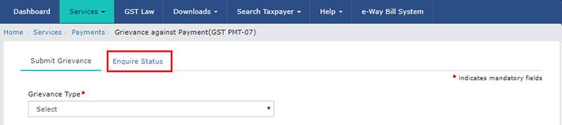 GST PMT 07 Status Inquiry