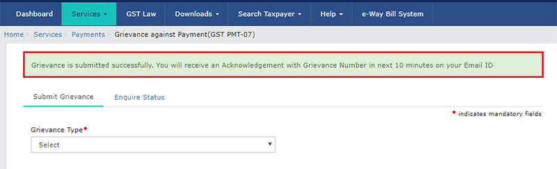 GST PMT 07 complaint submitted successfully