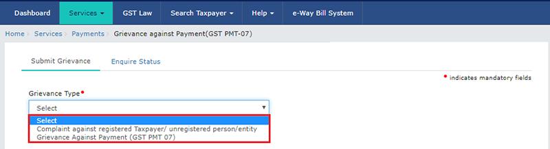 Select Complaint Type GST PMT 07